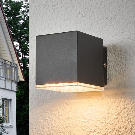 Tmavě šedé LED venkovní nástěnné svítidlo Lydia