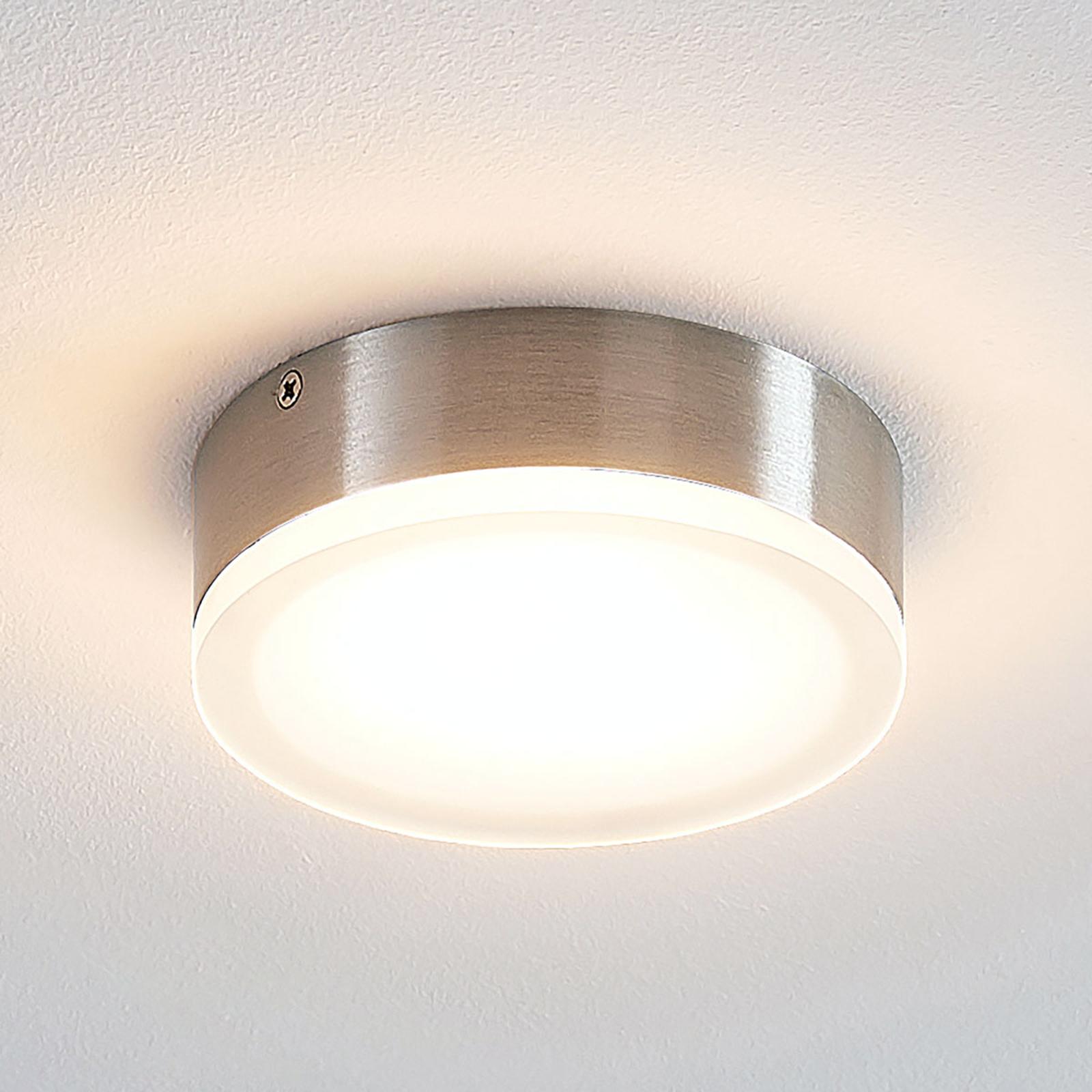 Lindby Leonta LED plafondlamp, nikkel, Ø 12 cm
