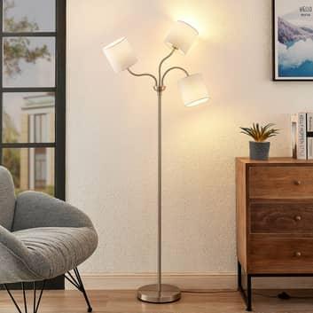 Lindby Manu golvlampa, textil, 3 lampor, vit