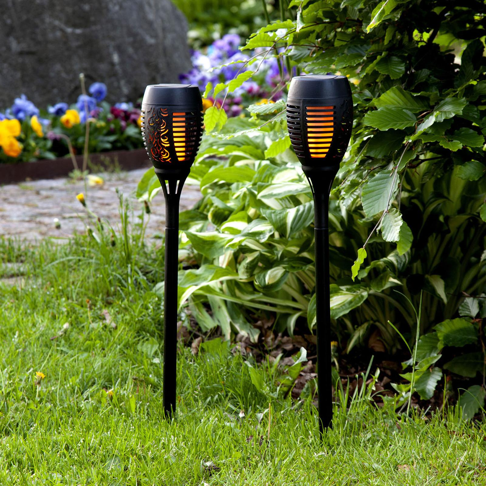 LED-solcellelampe Flame med jordspyd, 2-pakning