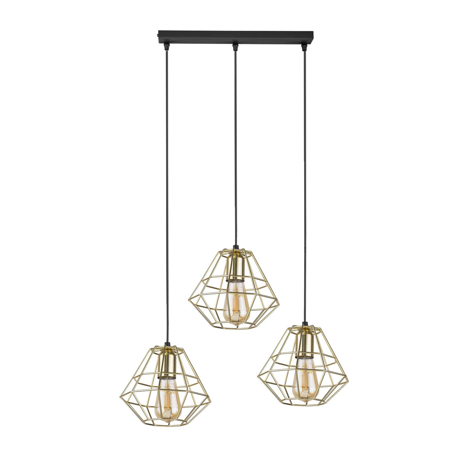 Suspension Diamond 3 lampes linéaires, dorée/noire