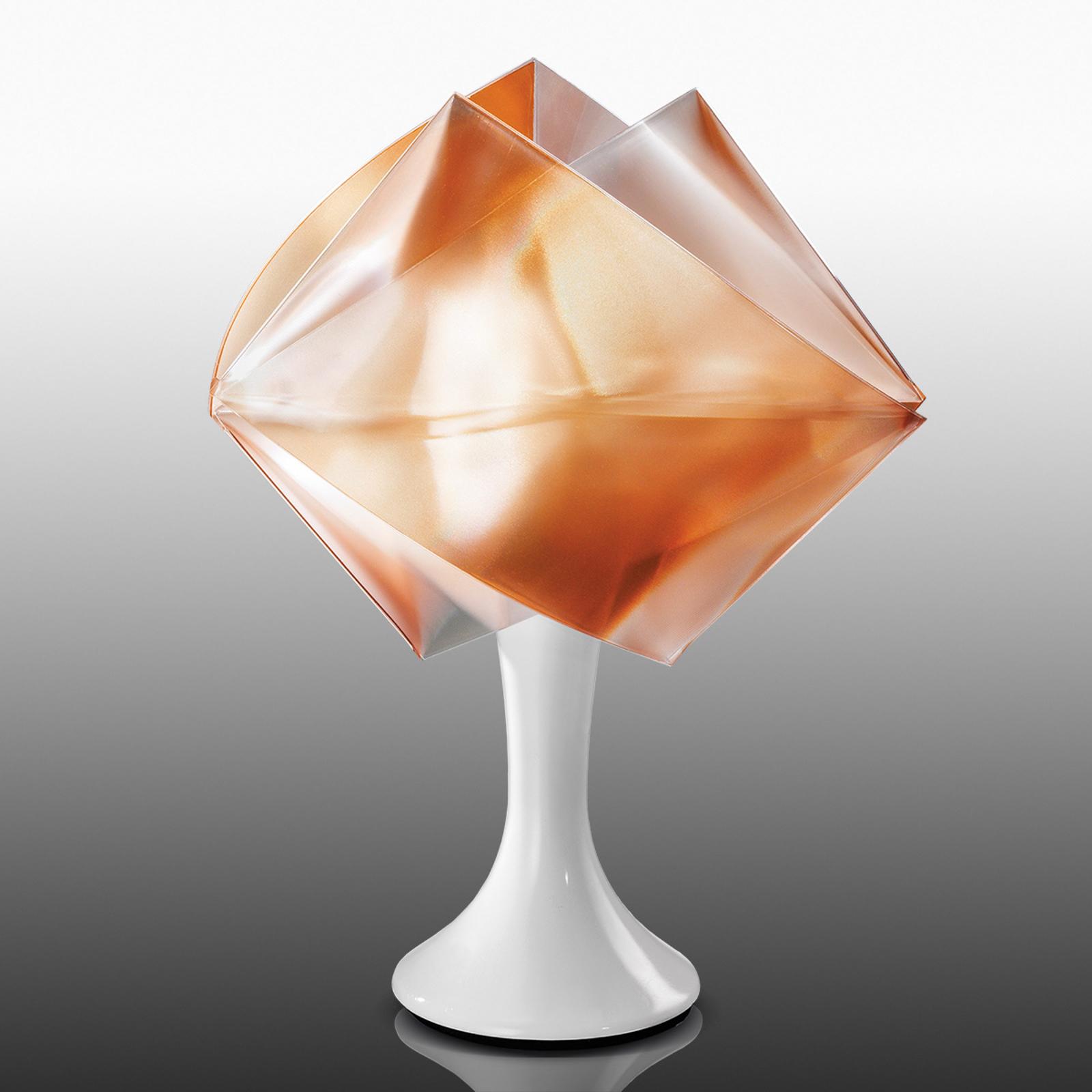 Amberfarget bordlampe Gemmy Prisma