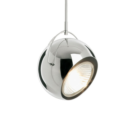 Fabbian Beluga Steel Chrom-Hängeleuchte, Ø 14 cm