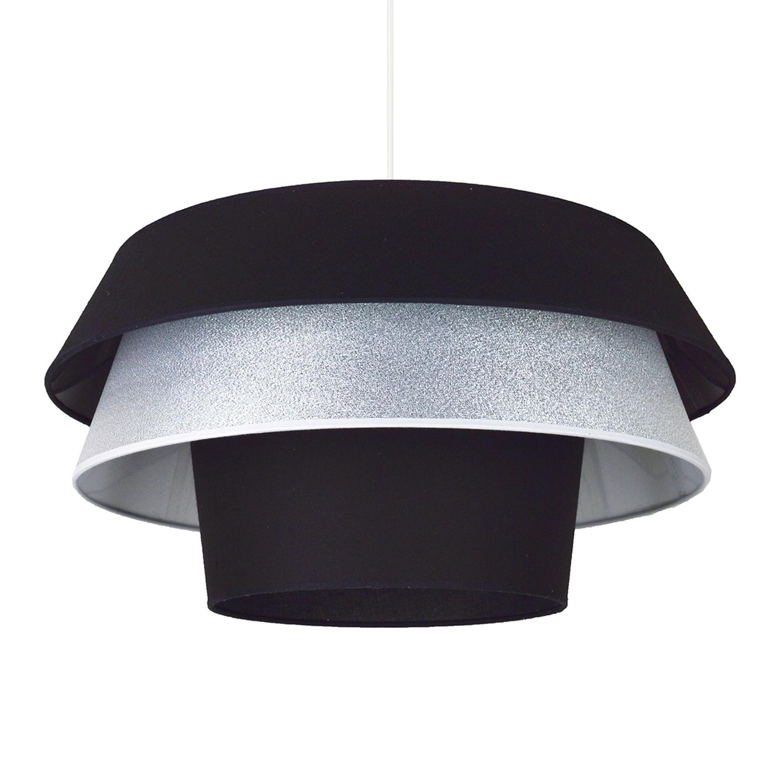 Lotos hængelampe i stof, sort og sølv