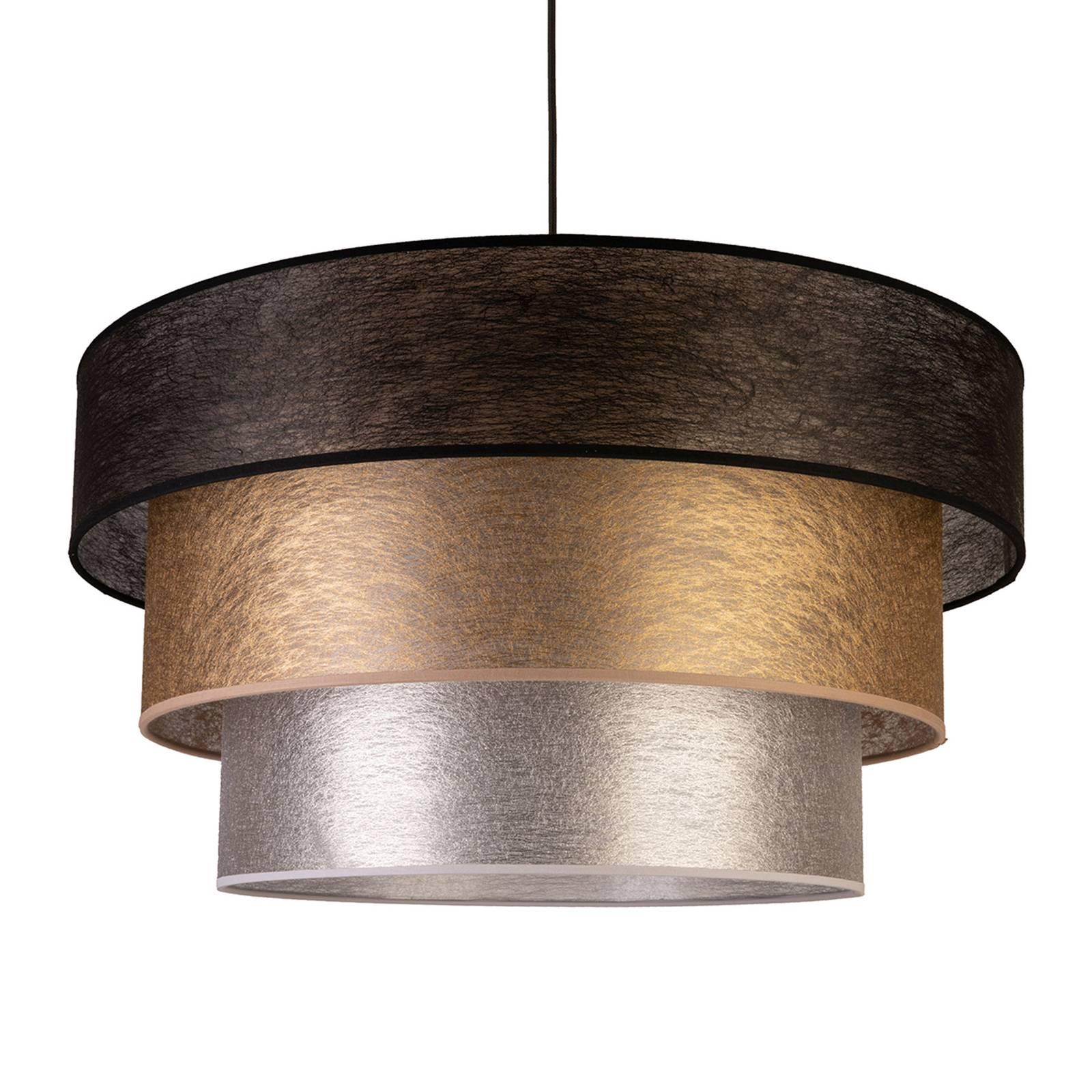 Textiel-hanglamp Luneta, zwart/goud/grijs