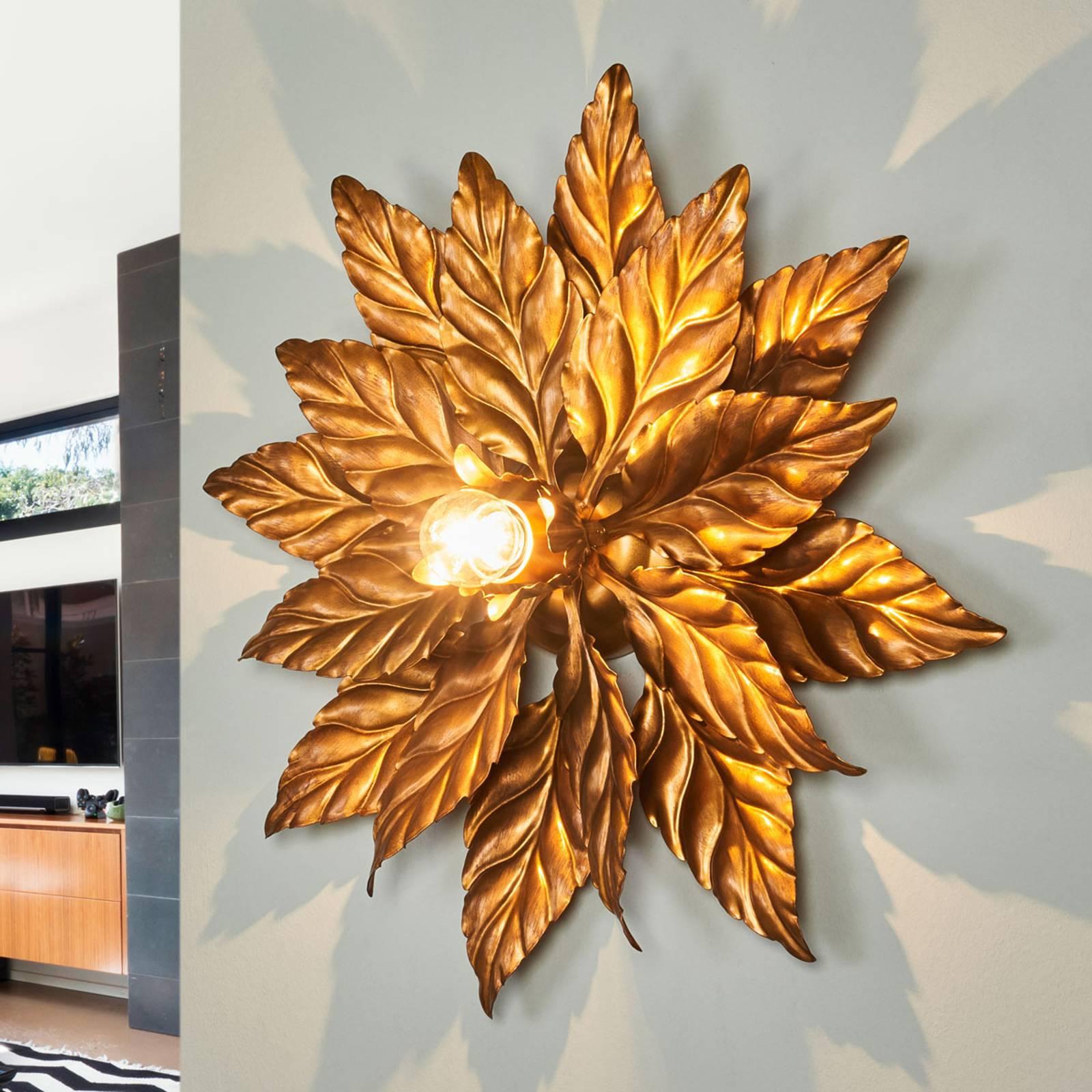 Wandlamp antiek met gouden bladeren 40 cm