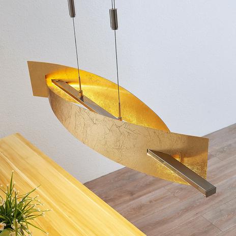 Lampa wisząca LED Marija, pionowa osłona, złota