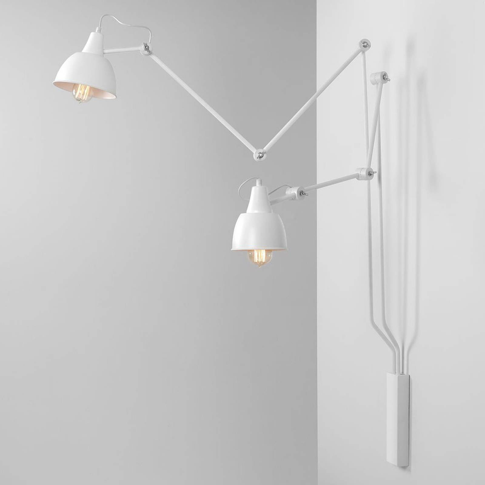 Wandlamp 814, verstelbaar, 2-lamps, wit