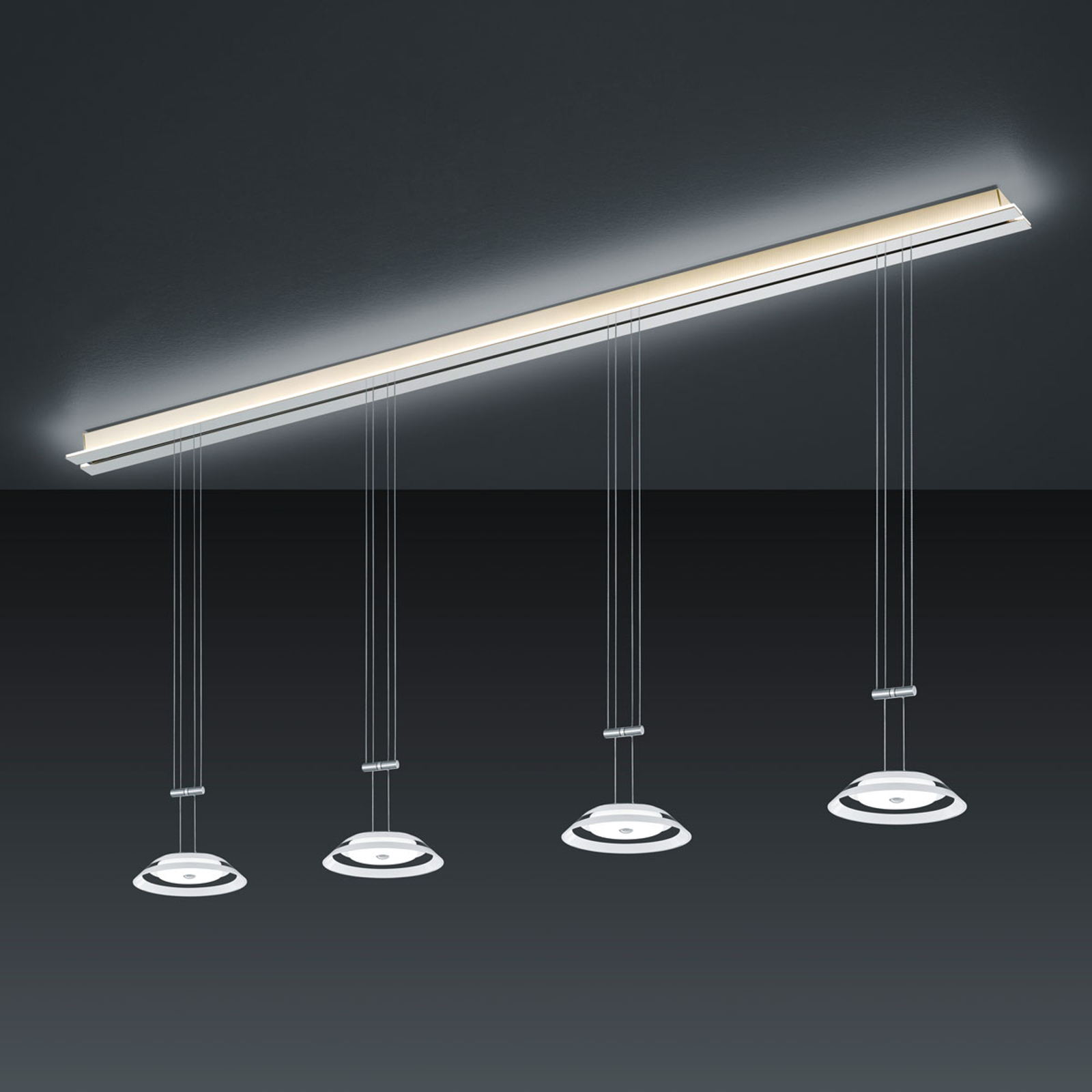 BANKAMP Strada Callas suspension, 4 lampes, 185 cm