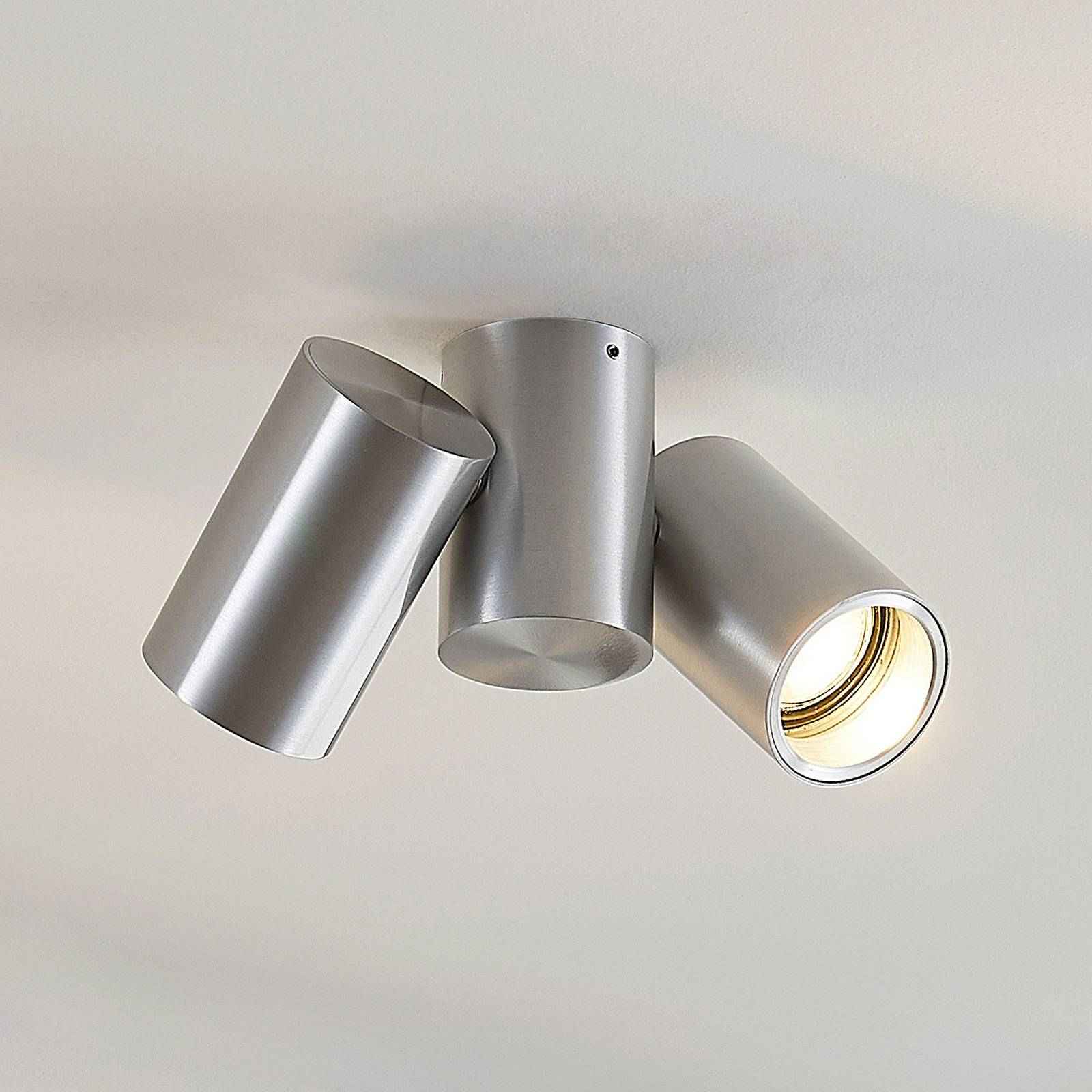 Plafondlamp Gesina, twee lampjes, alu