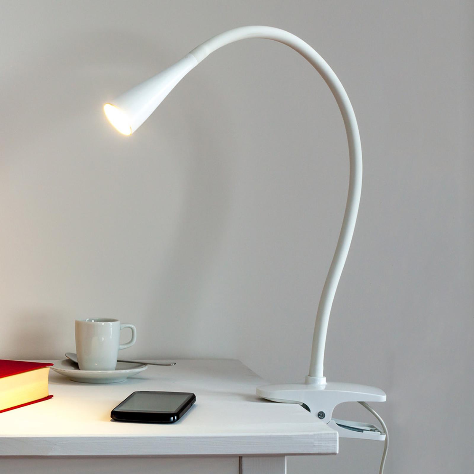 Úzká LED svítilna s klipem Baris v bílé