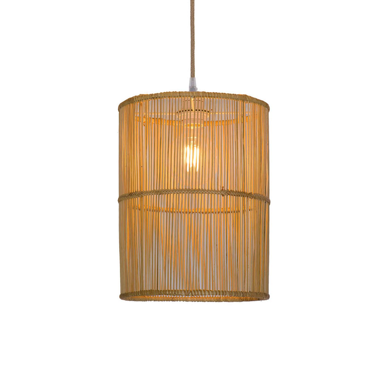 Lampa wisząca Anteo z ratanu, cylindryczna