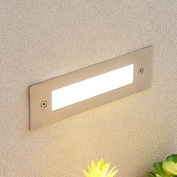 Aplique LED empotrado Roni acero inoxidable 19,5cm