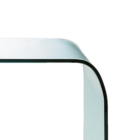 Mesa de vidrio Fontana con bordes redondeados