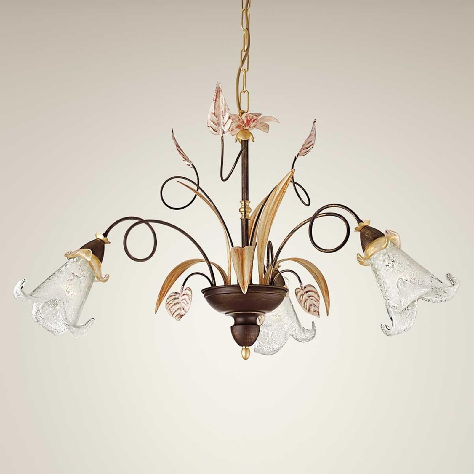 Florale hanglamp Giuseppe, 3-lichts