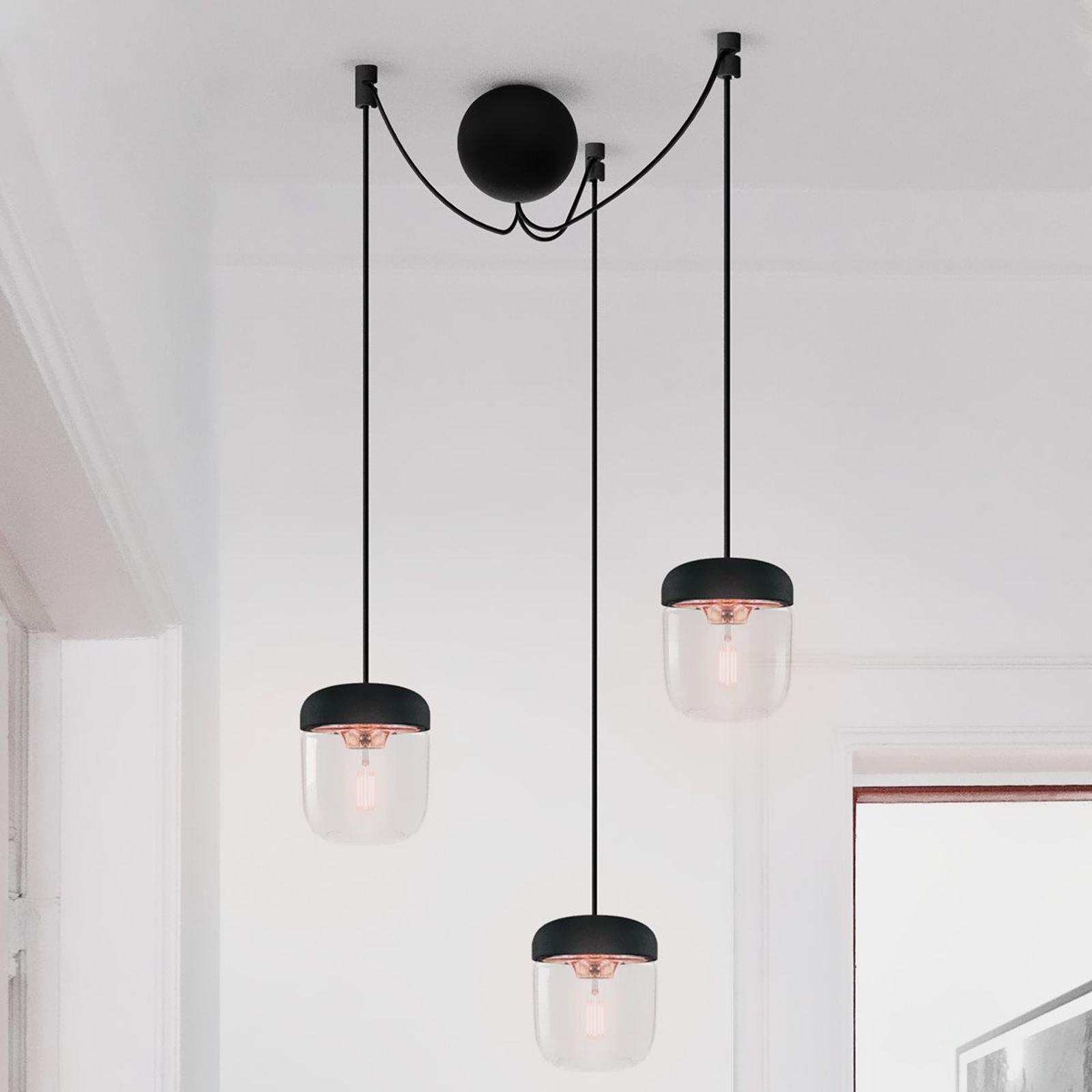 Pendellampe Acorn sort og kobber - 3 lyskilder