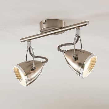 Lindby Jadon LED-takspotlight nickel 2 lampor