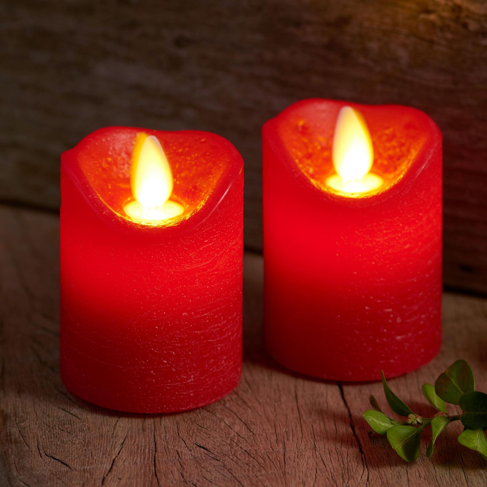 LED-Kerze Sara Mini 2er, rot, Ø 5cm, Höhe 7cm