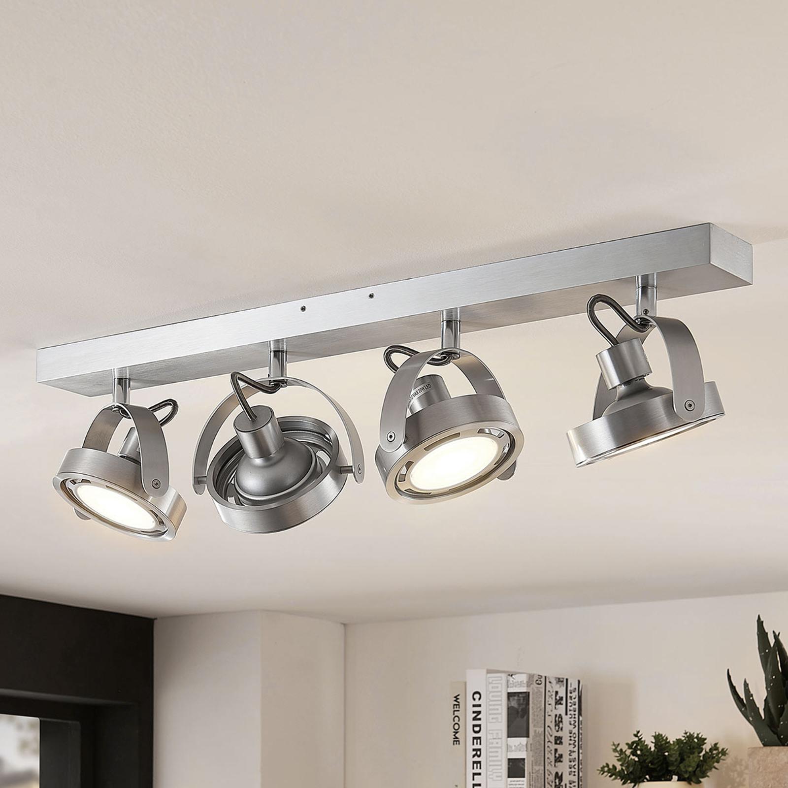Spot LED Munin, dimmable, aluminium, 4 lampes