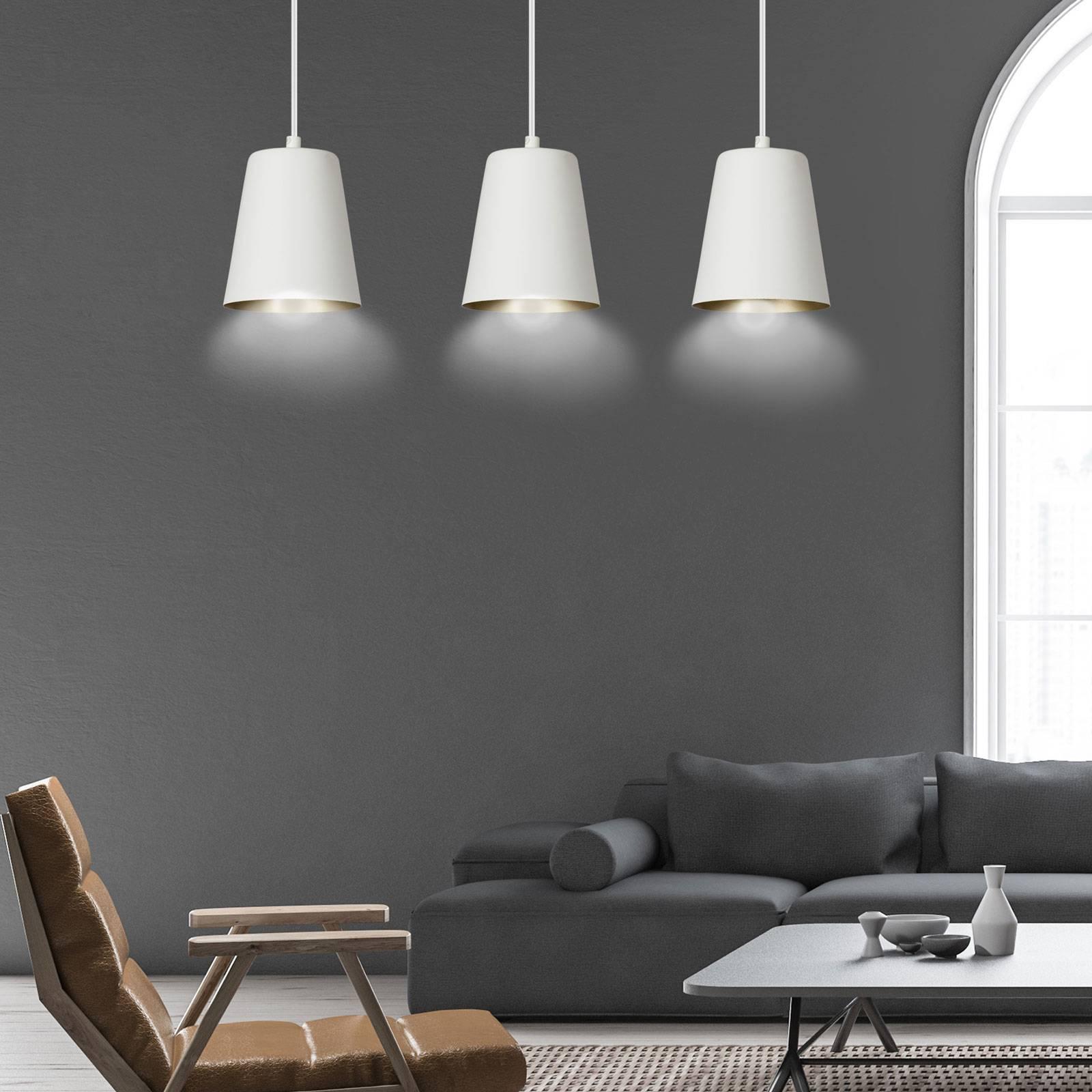 Suspension Milagro, à 3 lampes, blanche/dorée