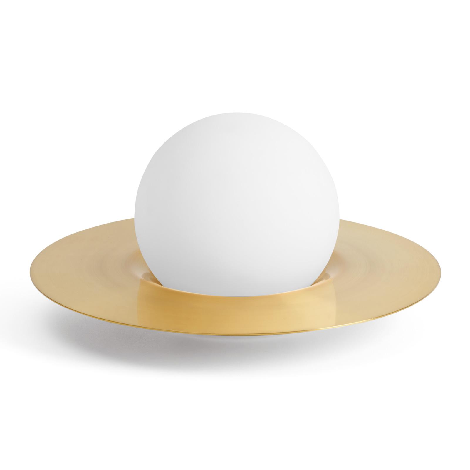 Tafellamp Hat van glas en metaal met dimmer