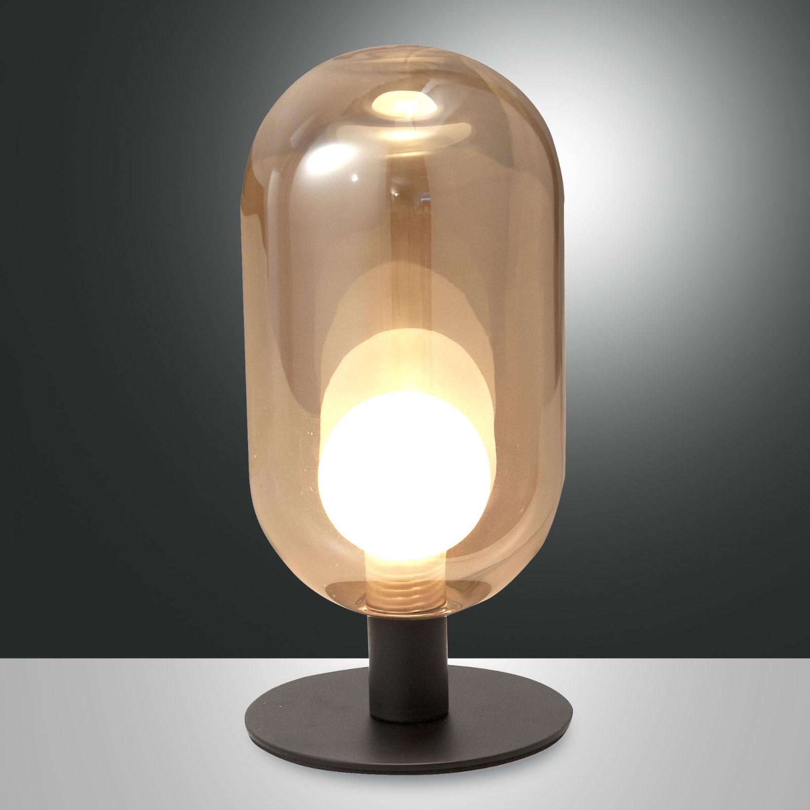 LED tafellamp Gubbio, ovale glazen kap, amber