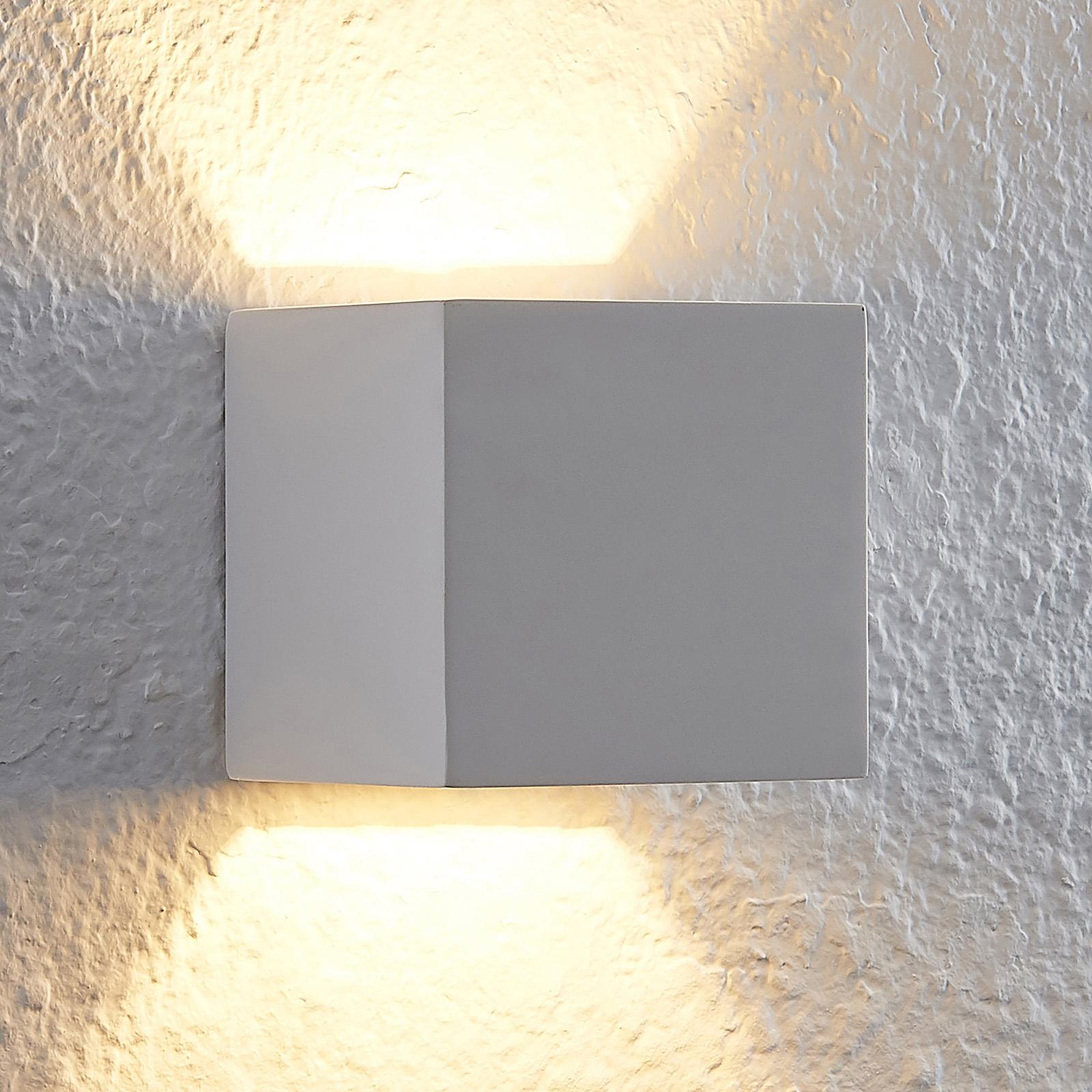 Lindby Quaso LED wandlamp van wit gips