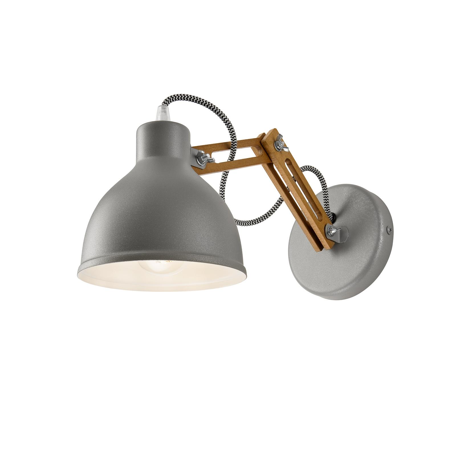 Wandlampe Skansen, Holzarm verstellbar, grau