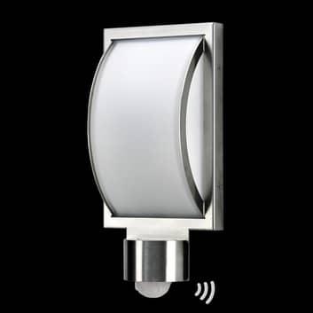 Edelstahl-Außenwandleuchte Curvo mit Sensor