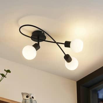 Lindby LED stropní světlo Elaina 3zdroje černobílá
