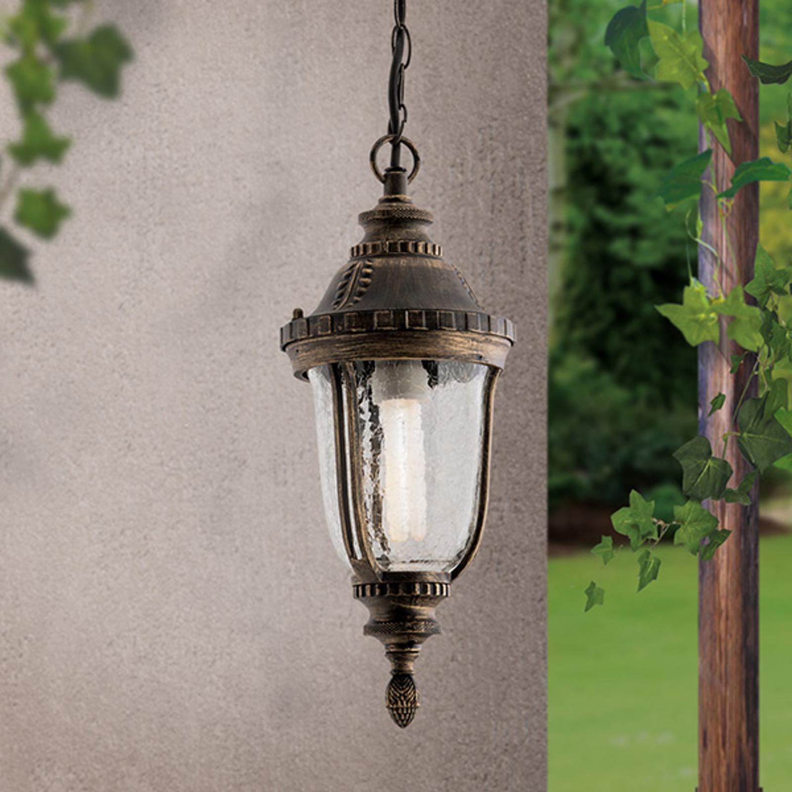 Traditionel Paula hængelampe med strukturglas