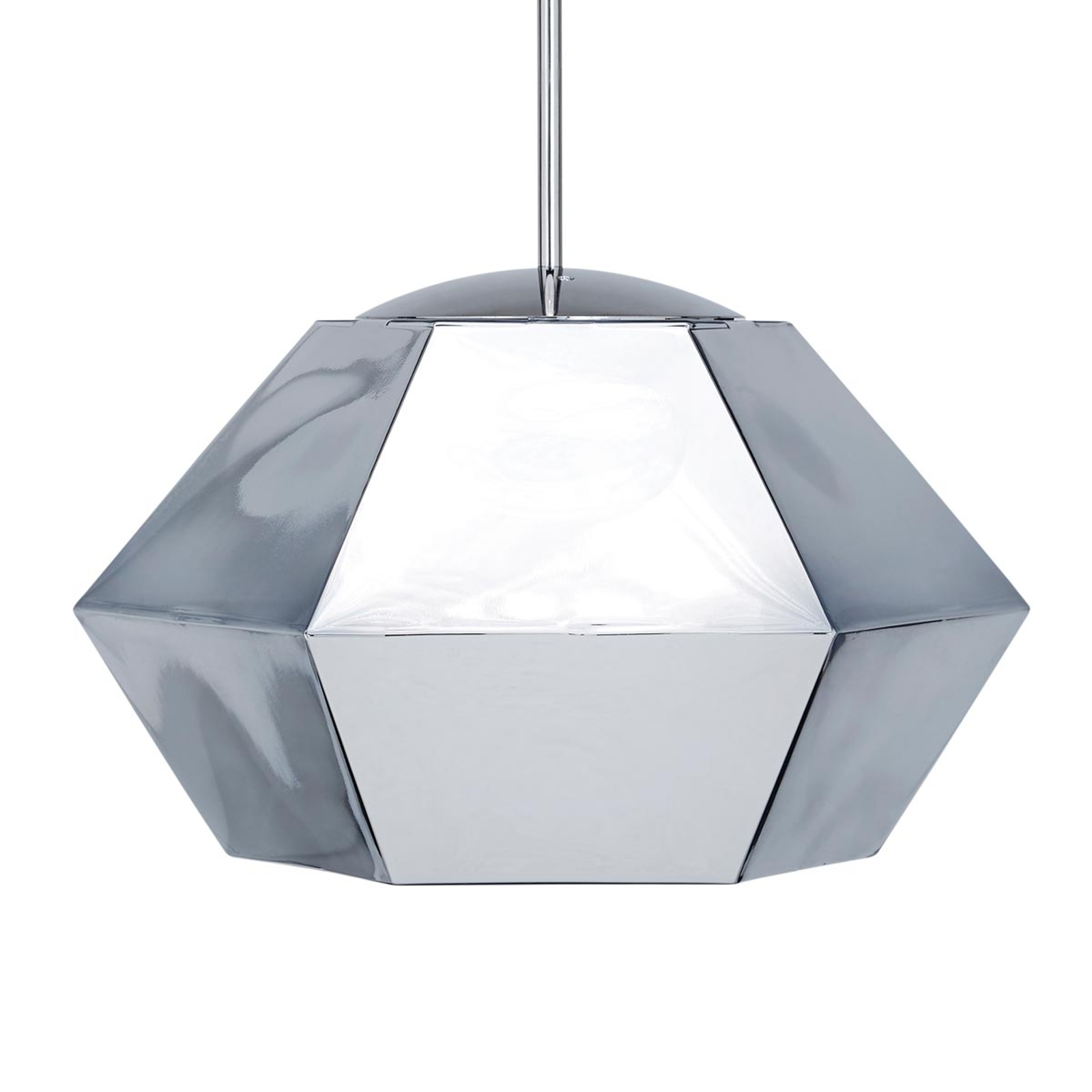 Affascinante lampada sospensione Cut Short, cromo