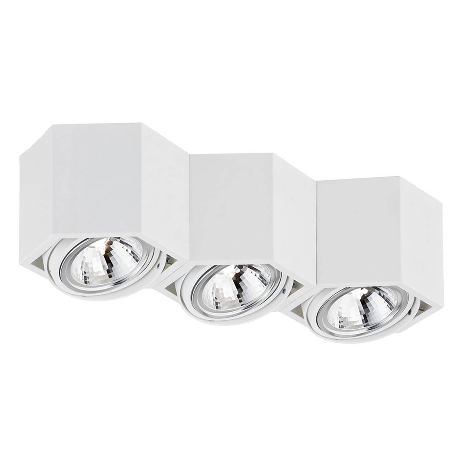 Plafonnier spot Elvas orientable à 3 lampes, blanc