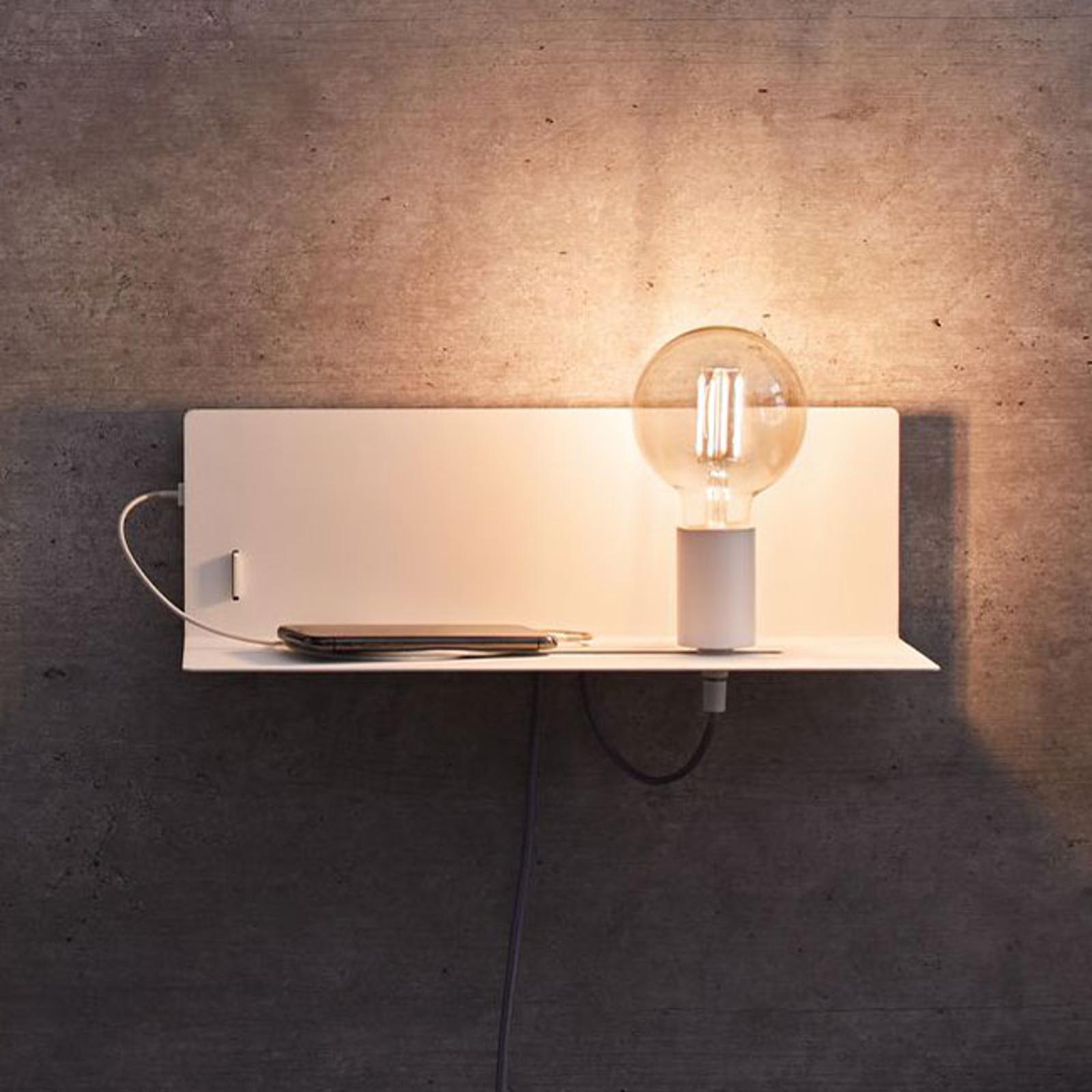 Paulmann Devara wandlamp met legbord, wit