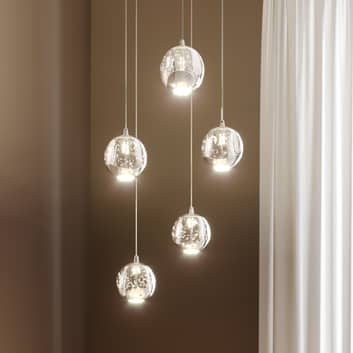 LED-Pendellampe Hayley, 5-fl., rund, chrom