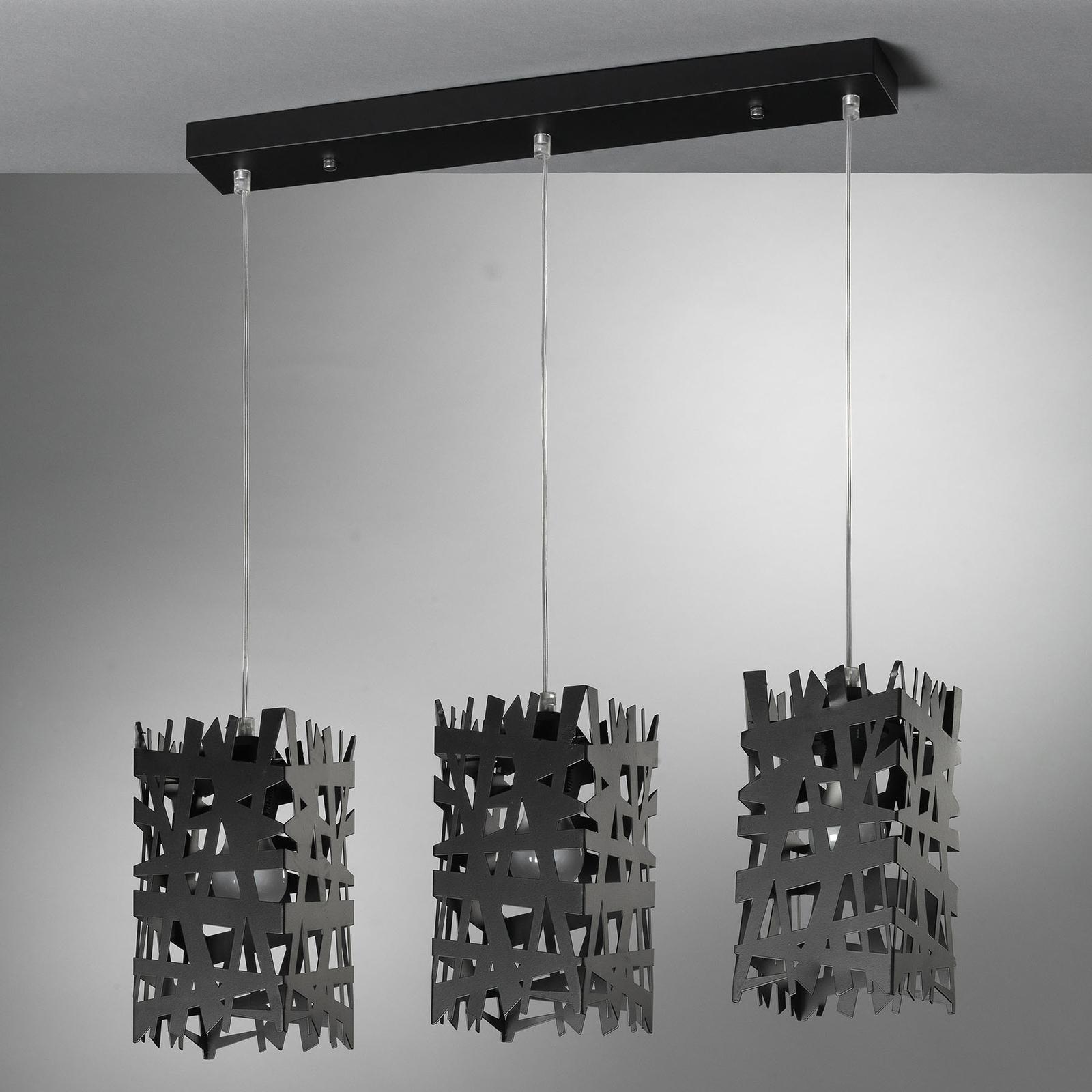 Hengelampe Foresta av metall, 3 lyskilder