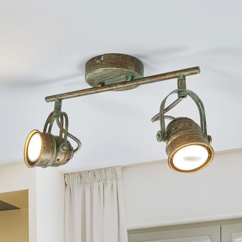 Spot LED Leonor à deux lampes, aspect antique