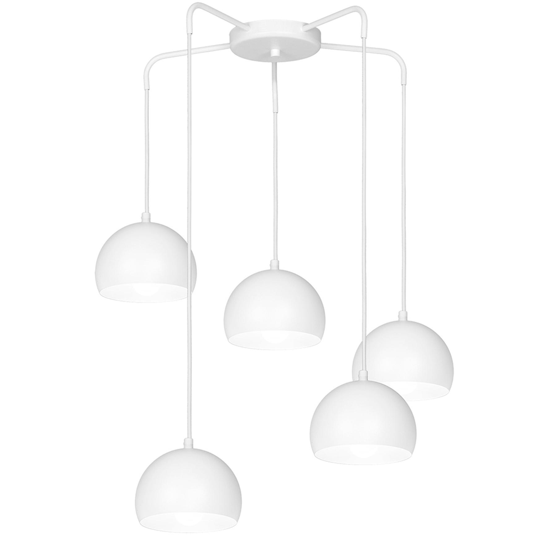 Lampa wisząca Sool, biała, 5-punktowa