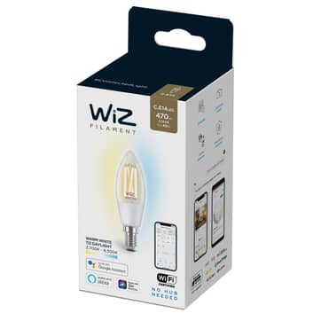 WiZ LED filament C35 E14 6,5W 2.700-6.500K helder
