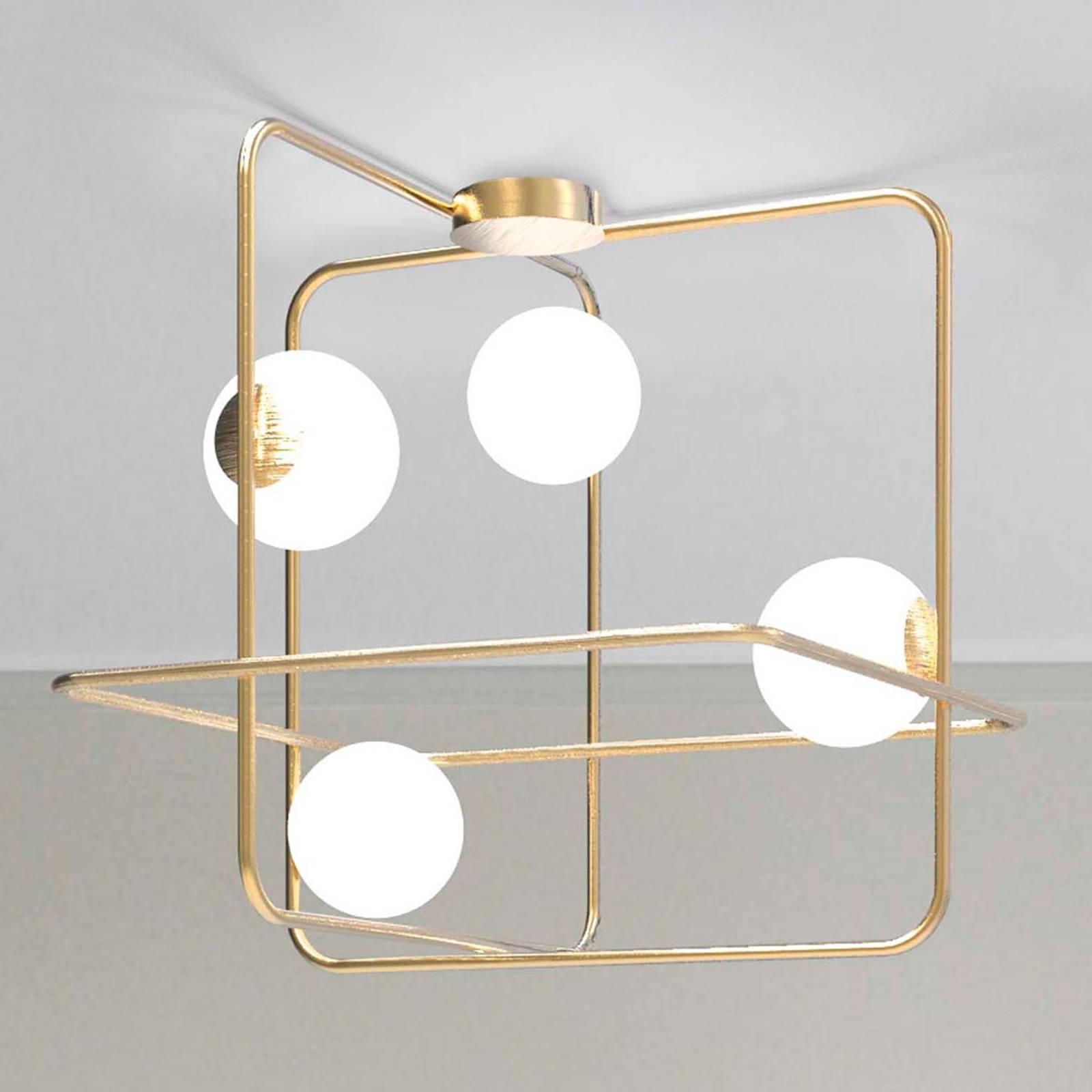 Plafondlamp Intrigo vierkant goud gesatineerd