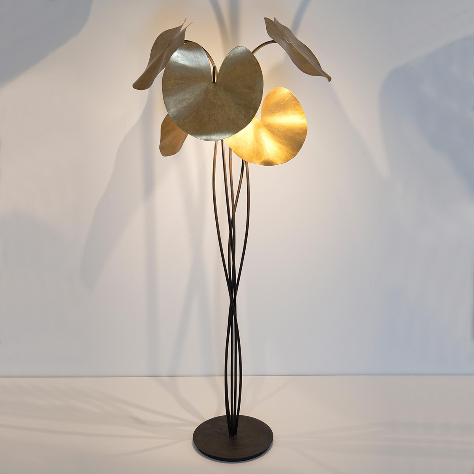 Lampa stojąca LED Controversia, złoty klosz