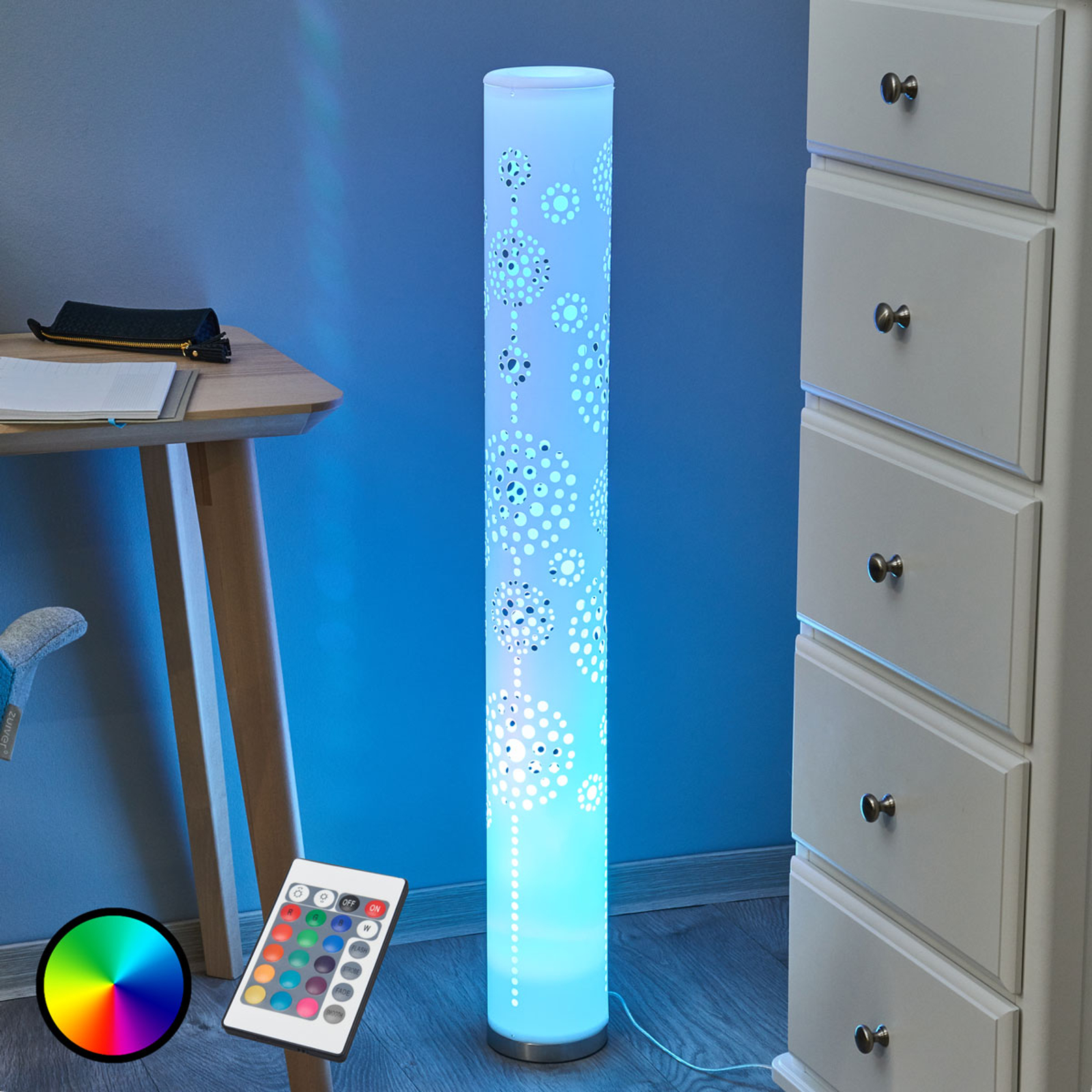 Mirella fin LED gulvlampe, RGB med fjernkontroll