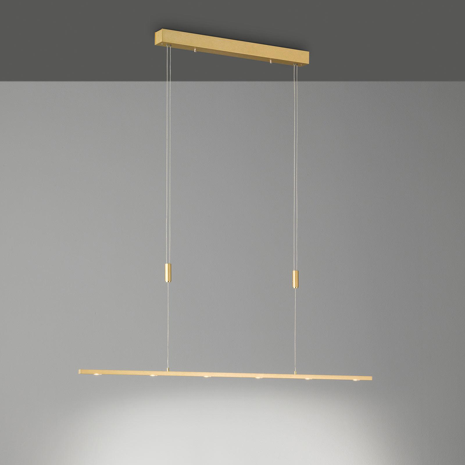 Lucande LED-Pendellampe Tolu, messing, 119 cm