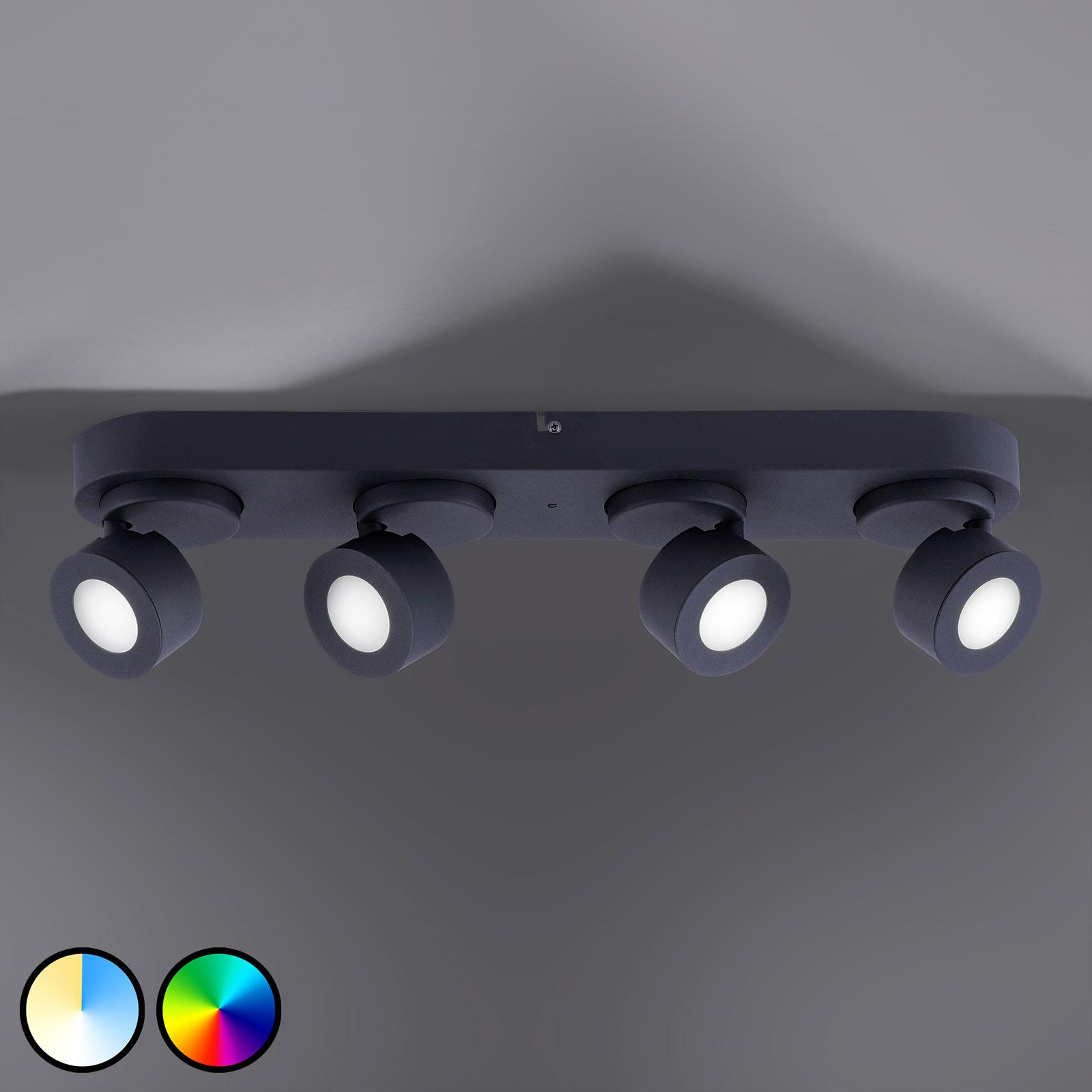 Trio WiZ Sancho LED-loftlampe, 4 lyskilder, sort