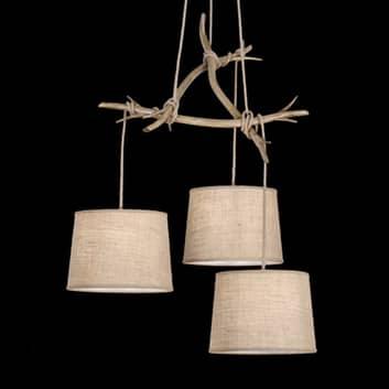 Lámpara colgante Sabina pantallas textiles 3 luces