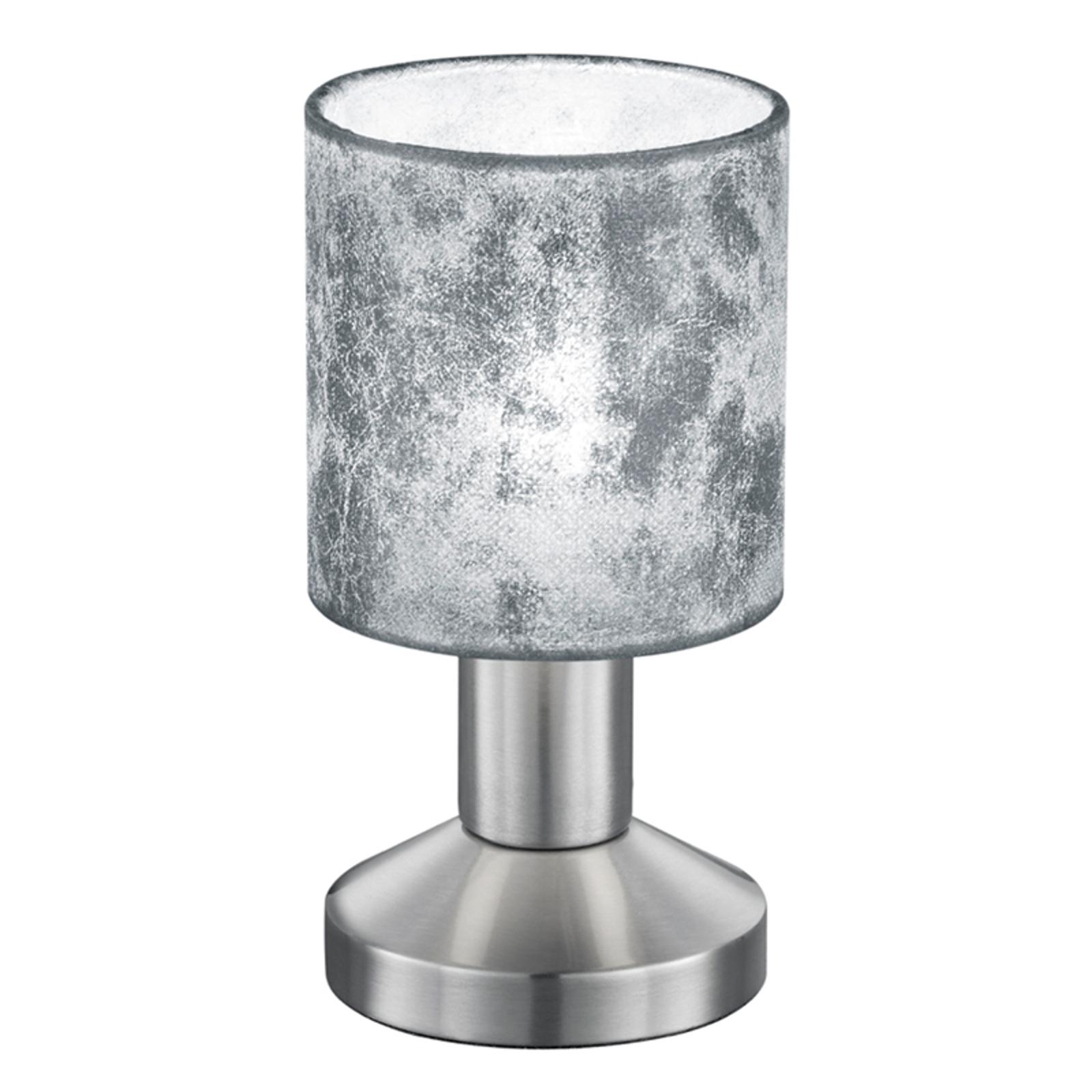 Silberfarbene Kunststoffschirm-Tischleuchte Garda