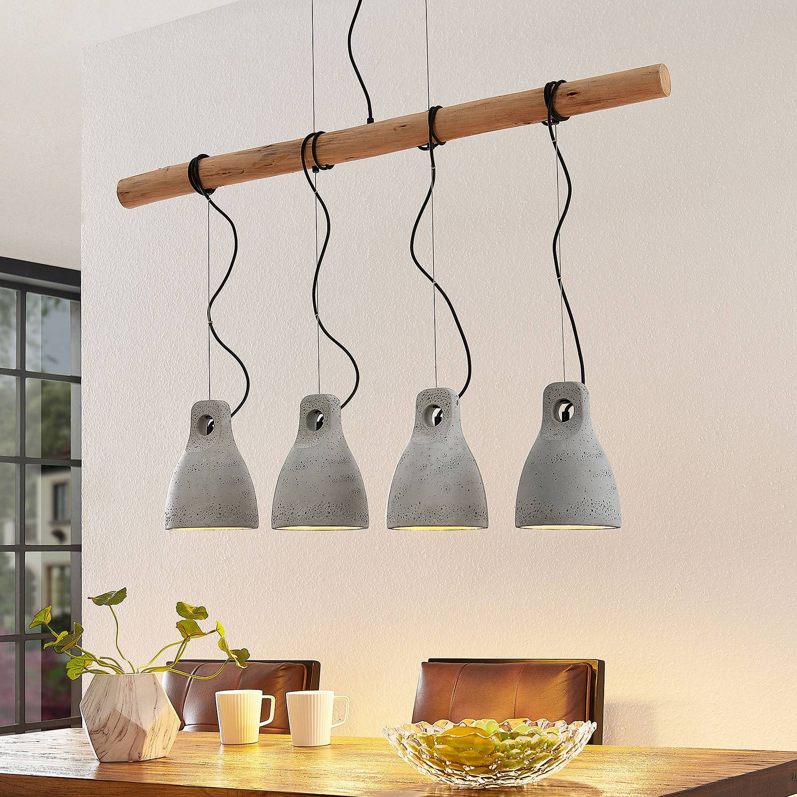 Lindby Grima hanglamp van beton, 4-lamps