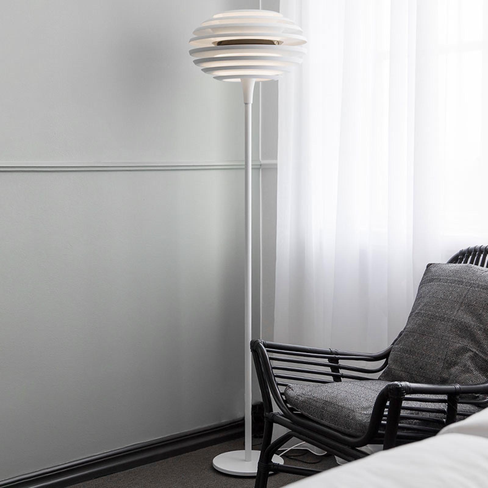 Vloerlamp Ellipse met dimmer, wit/chroom