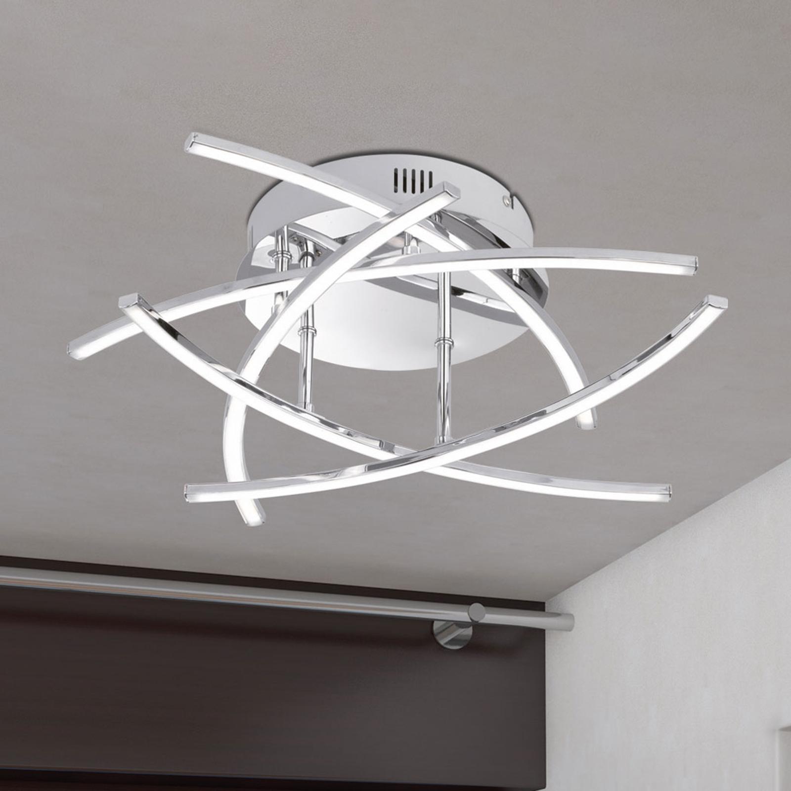 Plafonnier LED Cross à 5 lampes, chromé