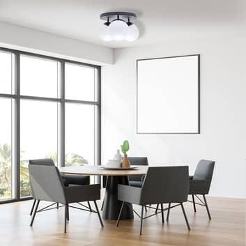 Plafón Sfera 3 luces directo redondo vidrio/negro